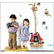 Pegatina de pared adhesiva medidor de altura infantil estilo barco pirata