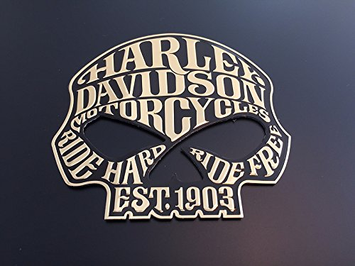"SCRITTA STEMMA LOGO ADESIVO SKULL ""HARLEY DAVIDSON"" EFFETTO RILIEVO LUCIDO M1001"