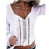 Bluester Women Sexy Lace Long Sleeve Top Shawl Beach Bikini Cover Up/ Blouse Dress (XL, White)