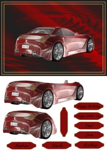 red-sports-car-card-front-with-decoupage-by-michelle-johnson