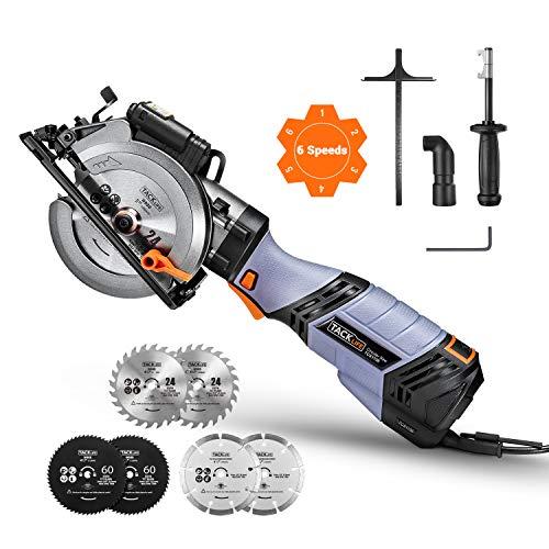 TACKLIFE Scie Circulaire Avancée, 750W, 6 Vitesses, 125mm & 115mm pour 6 lames, Manche en Métal,...