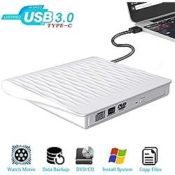 Lecteur DVD Externe USB 3.0 Type C Dual Port Graveur DVD Externe Portable Lecteur Graveur CD DVD Externe RW/ROM CD Enregistreur Transmission Rapide pour Windows 10/7/8/XP Mac Linux Laptop PC Desktops