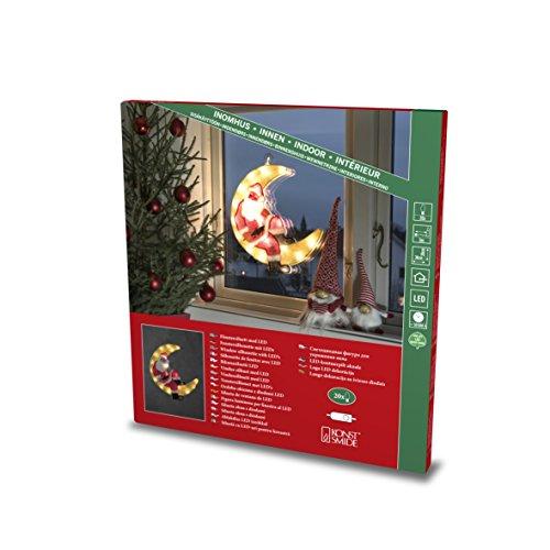 """Konstsmide, 2860-010, LED Fensterbild, \""""Weihnachtsmann im Mond\"""", 20 warm weiße Dioden, 230V, Innen, weißes Kabel"""