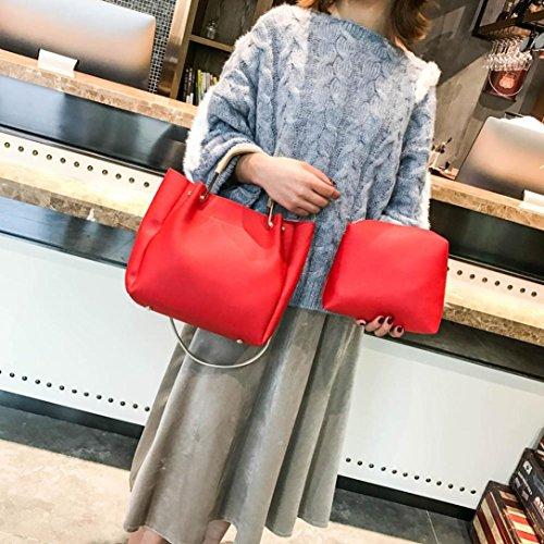 Frauen Zwei Set Handtasche Sansee Damen Schultertaschen Zwei Stücke Einkaufstasche Umhängetasche Rot