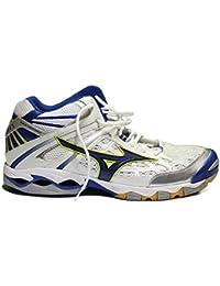Mizuno - Zapatillas de voleibol de Material Sintético para mujer blanco White/Blue/Yellow