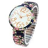 bc14a0642705 FTW Reloj de pulsera para mujer con diseño de rosas azules marinas con  estampado floral
