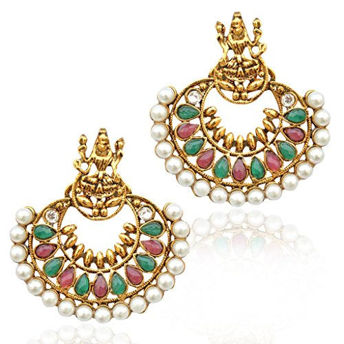 Pearl Maroon Green Ramleela South India Temple goddess Lakshmi ADIVA earring mz5mg  available at amazon for Rs.299