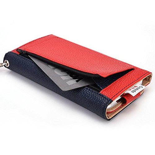 Kroo Pochette Téléphone universel Femme Portefeuille en cuir PU avec sangle poignet pour Vodafone Smart 4Turbo/Prime 6 Violet - violet Multicolore - Blue and Red