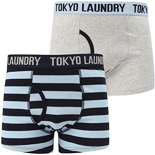 Angel Boxershorts (Brightlingsea 2 (2 Pack) Striped Boxer Shorts Set In Lt Grey Marl / Angel Falls Blue - Tokyo Laundry-XXL)
