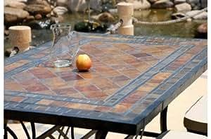 ERABLE: Table mosaique de jardin en Ardoise - pierre naturelle