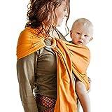 Shabany® - Ring Sling Tragetuch - 100% Bio Baumwolle - Babybauchtrage für Neugeborene Kleinkinder bis 15 KG - inkl. Baby Wrap Carrier Anleitung - orange (likes)
