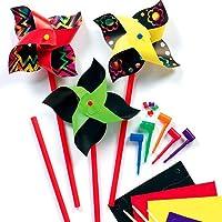 Kinder Windrad mit Kratztechnik - Bunte Kratzbild-Windräder für Kinder zum Basteln & Spielen, toll als Mitgebsel (8 Stück)