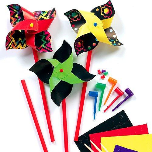 Baker Ross Kinder Windrad mit Kratztechnik - Bunte Kratzbild-Windräder für Kinder zum Basteln & Spielen, toll als Mitgebsel (8 Stück)