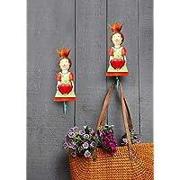 Heart Designed Single Wall Hook Doll Shaped Wall Mounted Coat Key Hanger Iron Multiutility Hanger Kids Room Home Decor (Multicolor)