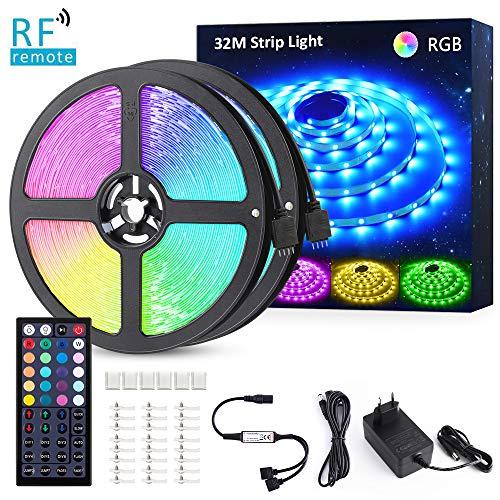 Novostella LED Streifen RGB LED Strip 32m (2x16M) 24V Dimmbar mit 44 Tasten RF Fernbedienung 5050 SMD 960 LEDs Lichtleiste Band Lichterkette mit Netzteil Innenbeleuchtung für Deko Party Weihnachten