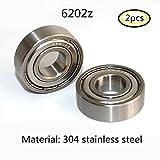 304 Edelstahl 6202ZZ Abgeschirmte Industrie Rillenkugellager 15x35x11mm Radial Kugellager 2PCS (6202zz)