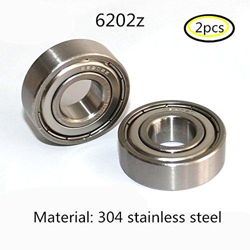 304 Edelstahl 6202ZZ Abgeschirmte Industrie Rillenkugellager 15x35x11mm Radial Kugellager 2PCS (6202zz) -