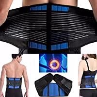 CSL Adjustable Neoprene Double Pull Lumbar Support Lower Back Belt Brace Pain Relief Slip Disc 5 Sizes Available S M L XL XXL 22 inch - 44 inch