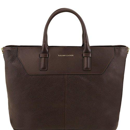 Tuscany Leather Irene - Sac à main en cuir souple avec bandoulière - TL141514 (Beige) Marron foncé