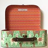 Sass and Belle Koffer/Kinderkoffer/Puppenkoffer/Aufbewahrungsbox. Pappkoffer, 3 Verschiedene Größen. (Grün/Lima Lama, Groß)