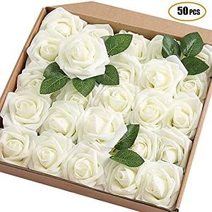 JaosWish – 50 rosas artificiales de tacto real, rosas artificiales de espuma, flores artificiales para ramo de bricolaje…
