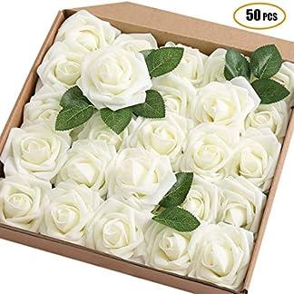 JaosWish – 50 Rosas Artificiales de Tacto Real, Rosas Artificiales de Espuma, Flores Artificiales para Ramo de Bricolaje, Boda, Fiesta, decoración del hogar