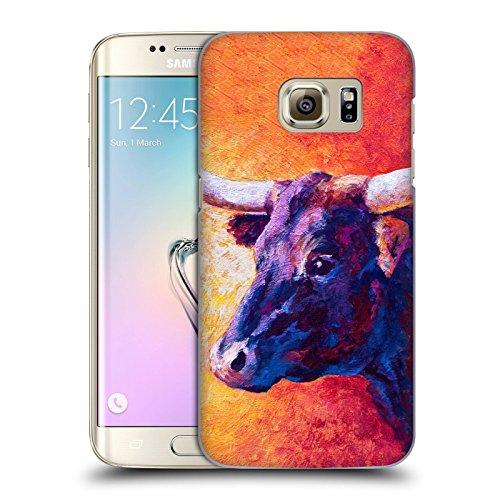 Head Case Designs Offizielle Marion Rose Violette Kuh Rinder Ruckseite Hülle für Samsung Galaxy S7 Edge