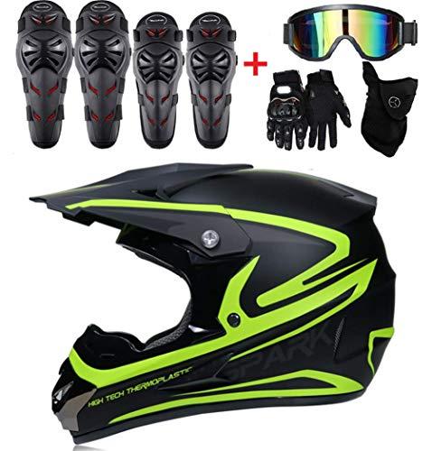 BY-JING Casco Moto Integrale Full Face off Road Motocross UTV ATV Enduro Moto (Set Gratuito di 5 Pezzi: Occhiali, Maschera, Guanti, Ginocchiere, gomitiere),Red,S
