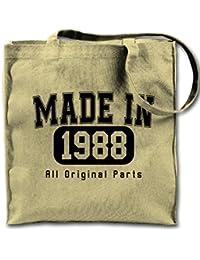 Made In 1988 All Original Parts Birthday Lienzo natural Bolso de mano, Bolsa de tela de compras