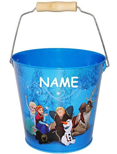 Metalleimer für Kinder / Deko Eimer -  Disney Frozen - die Eiskönigin  - incl. Name - blau - 2 Liter - großer Metall Sandeimer / Kindereimer Garteneimer / Ü..