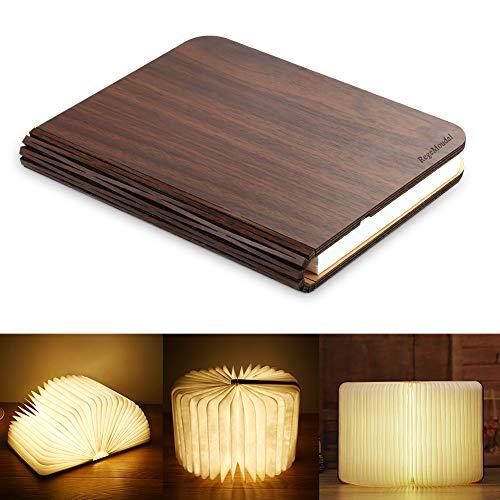 RegeMoudal LED Livre Lampes Pliante Rechargeable par USB Lumière Magnétique avec Batterie Lithium en Bois en Papier DuPont Imperméable Lampe de Bureau Lumières Décoratives Veilleuse Lampe de Chevet