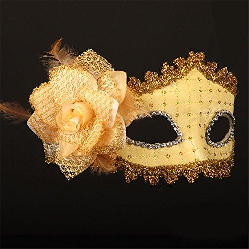 Halloween Maske Leder Make-up Tanz Show Gemalte Federn Halbes Gesicht Schöne Prinzessin Masken,Golden