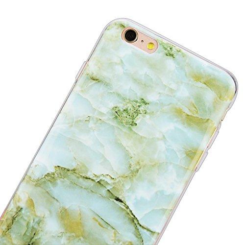 iPhone 6 / iPhone 6S Hülle, Yokata Marmor Gradient Edelstein Farbe Case Soft Flexible Weich TPU Silikon Gel Backcover Schutzhülle Cover Skin Schutz Schale Protective Cover + Stylus Pen x 1 - Lila Grün