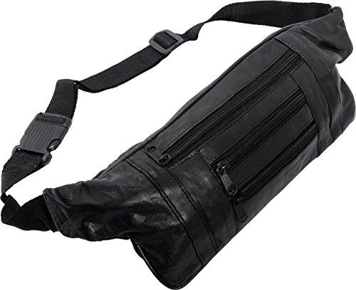 Schwarze Leder-gürtel-tasche (Schmale flache Bauchtasche / Hüfttasche / Gürteltasche Lamm Nappa Leder - Stylish und Trendy (schwarz) für Damen und Herren - Wandern Outdoor Festival)