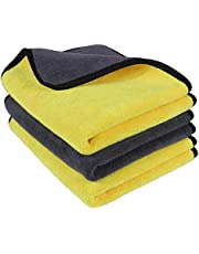 OAN Microfiber Car Cleaning Cloth for Detailing & Polishing 800 GSM   40x30 cm (Pack of 3) (Random Color)