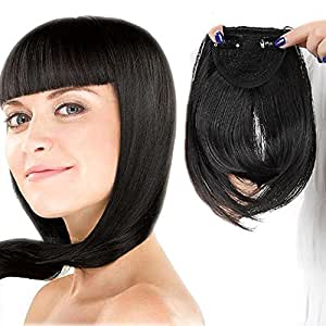 One Piece Straight Bang Clip In On Bangs Fringe Cute Hair Extensions - Natural Black