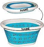 Wäschekorb -  Blumen & Blüten - BLAU  - faltbar & klappbar - incl. Name - Silikon & Kunststoff / Klappbox - Badezimmer / Küche / Bad - Wäschebox / Wäschesammler - zum Verstauen - faltbarer Silikonwäschekorb - Wäschekörbe Basket - Wäschekiste - bunt / Aufbewahrungskorb / Aufbewahrungsbox