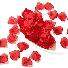 Idea Regalo - JZK 1000 x Seta petali di rosa finti rossi coriandoli biodegradabili stoffa decorazione tavolo per matrimonio addio al nubilato San Valentino nozze
