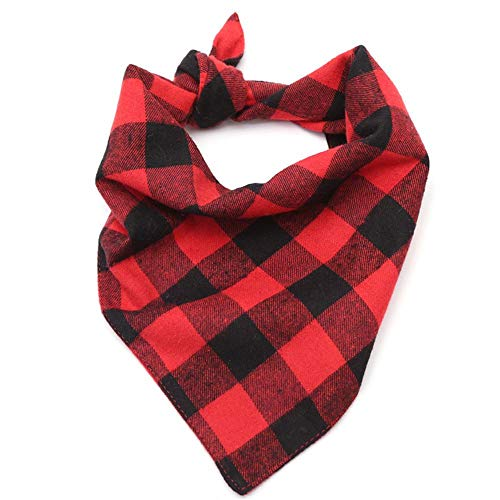 YCGG Hundebabys Hund Bandana Schal, Reversible Plaid Printing Kopftuch für Haustiere(,rot-Weiss) -