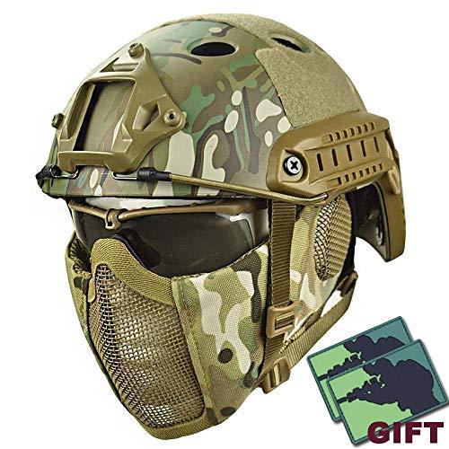 YOROOW Paintball Schutzhelm Camo Gesicht Airsoft Schneller Helm mit Stahlgitter Maske und Goggle-Satz, PUBG Cosplay CS Game Gear für Dschungel-Jagd-Moto,Cp -