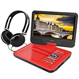 WONNIE 10,5' Lecteur DVD portable avec un écran rotatif 270°, Carte SD et prise USB avec charge directe Formats / RMVB / AVI / MP3 / JPEG, Parfait pour Enfants (Rouge)
