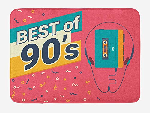 MSGDF 90s Bath Mat, Retro Illustration of Stereo Compact Cassette Player Outdated Electronics, Plush Bathroom Decor Mat with Non Slip Backing, 23.6 W X 15.7 W Inches, Dark Coral Mustard Teal