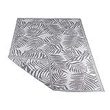 RM Design In- & Outdoor Teppich für Terrasse/Balkon Grau Palmblatt Muster 120 x 180 cm