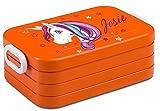 Lunchbox Rosti Mepal Maxi Take A Break midi Brotdose Brotbox mit eigenem Namen Unicorn Einhorn beauty (orange)
