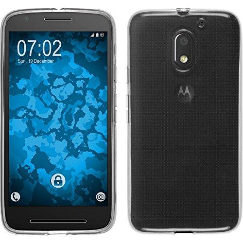 PhoneNatic Case kompatibel mit Lenovo Moto E3 - Crystal Clear Silikon Hülle transparent + 2 Schutzfolien