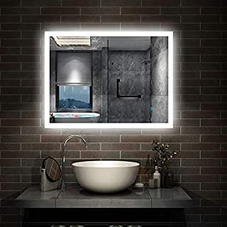 Aica 600x500mm Bathroom Mirror with LED Lights,Touch Control and Demister,Both Potrait and Landscape Mount