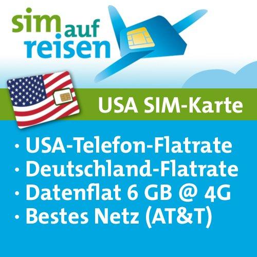 USA Prepaid Reise-Sim-Karte im AT&T Netz mit Telefon- und Internetflatrate (6 GB @ 4G)