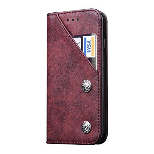 Für iPhone 7 Bronze Texture Pattern Casual Style Horizontale Flip Stand Ledertasche Cover mit Halter & Card Slots by diebelleu ( Color : Black ) Wind red