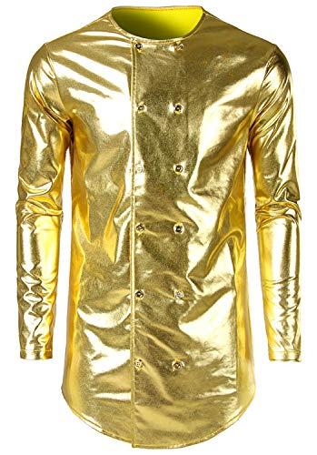 RuiXie Herren Hip Hop Fasching Metal Optik Bronzing Golden Hemden Zweireiher Knopf Karneval Fastnacht (Metal Iron Mann Kostüm)