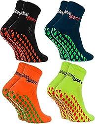 Rainbow Socks - Damen Herren Neon Sneaker Sport Stoppersocken - 4 Paar - Schwarz Blau Orange Grün - Größen: EU 44-46